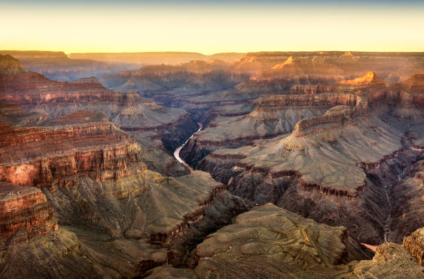 Sunset in Grand Canyon National Park from Pima Point stock photo