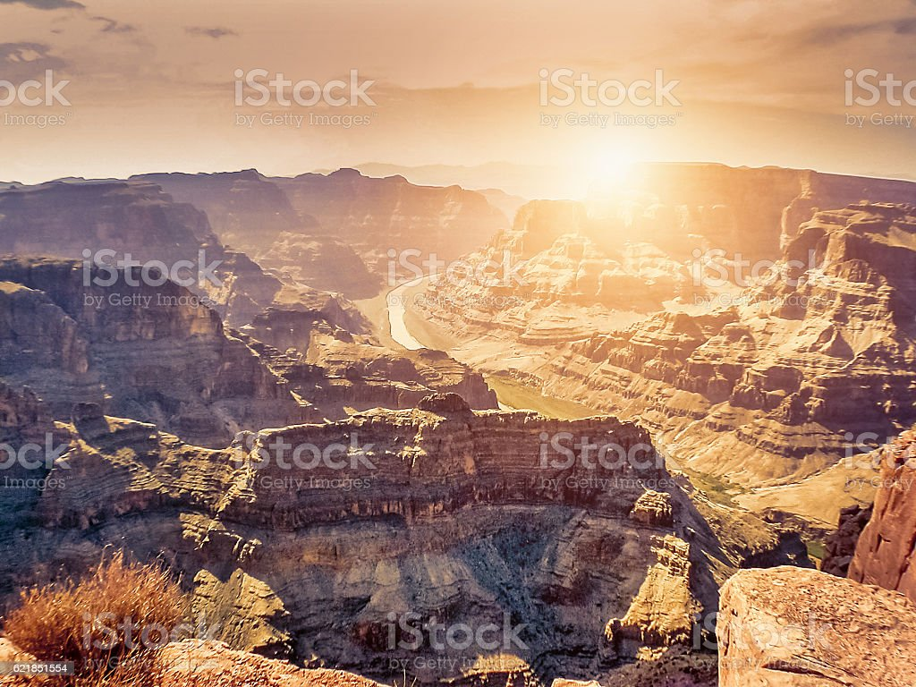Sunset in Grand Canyon stock photo