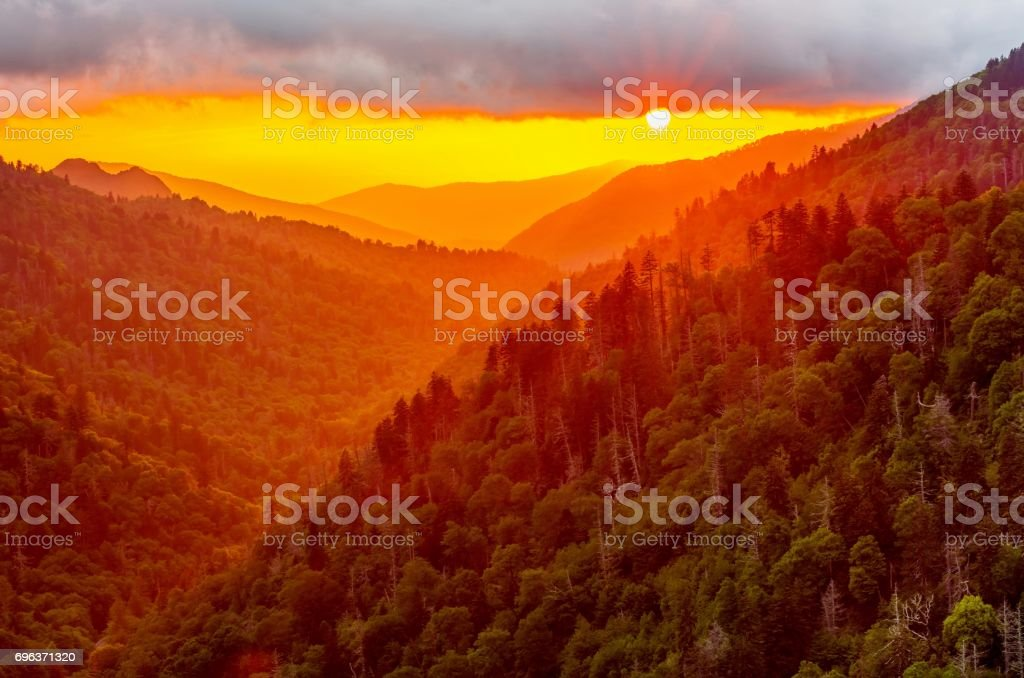 Sunset in Great Smoky Mountains National Park stock photo