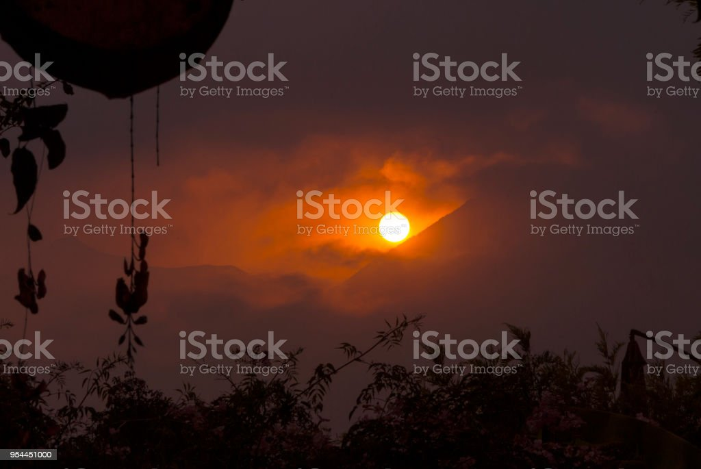 Sunset in Guatemala seen from Volcano Fuego. stock photo