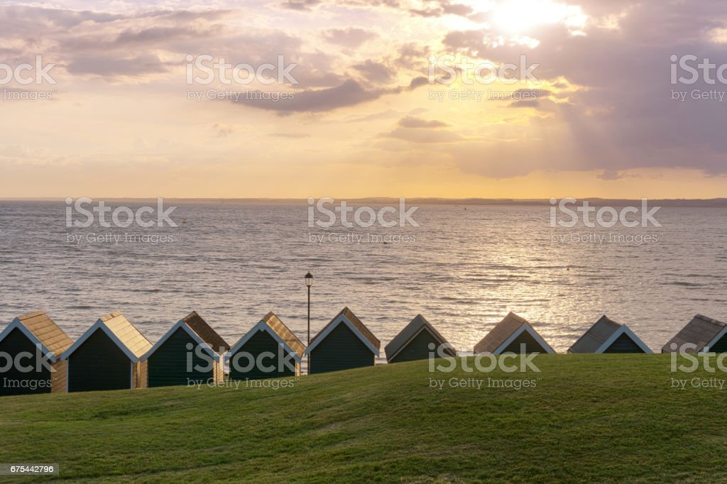 Sunset in Gurnard - Isle of Wight (UK) stock photo