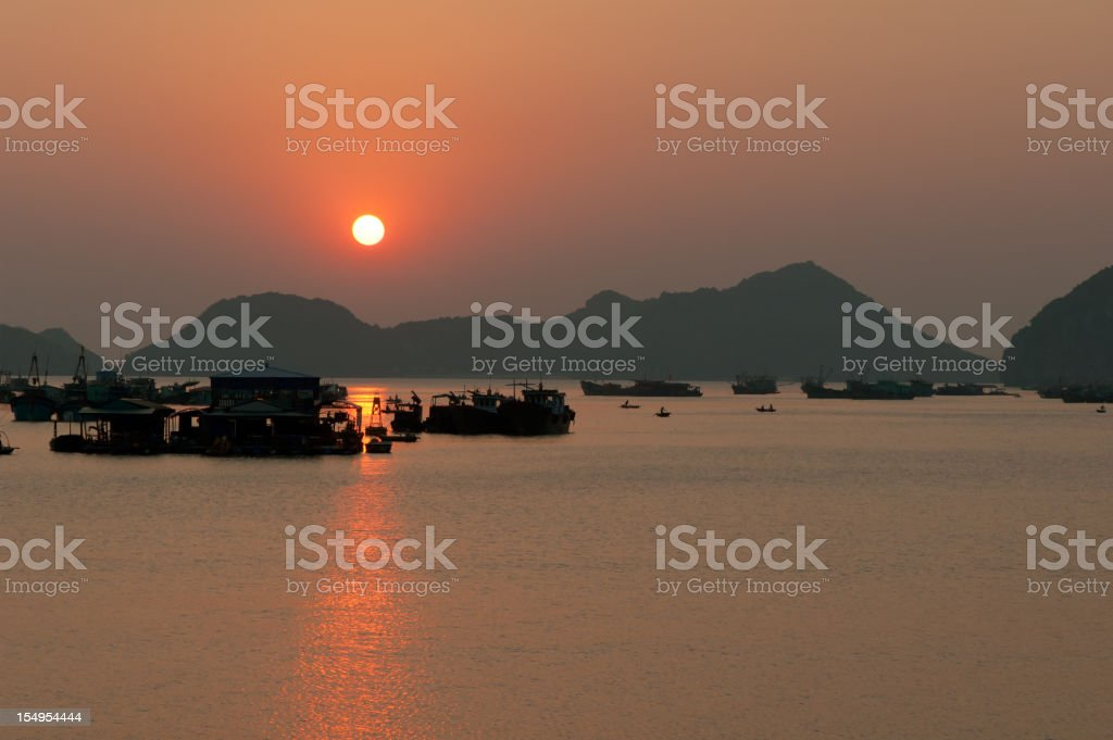 Sunset In Halong Bay stock photo