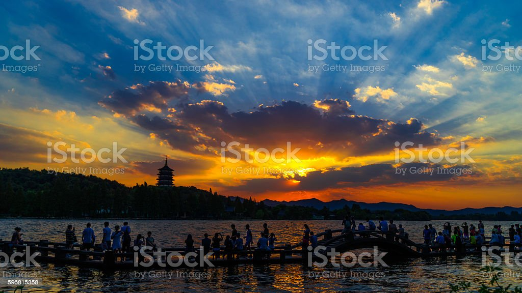 Sunset in HangZhou West Lake stock photo
