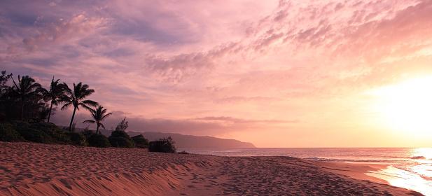 Sunset in Hawaii Islands, Oahu, Hawaii, USA