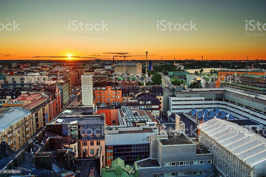 Sunset in Helsinki HDR stock photo