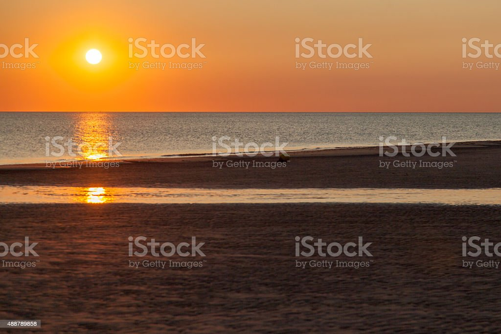 Sunset in Holland stock photo