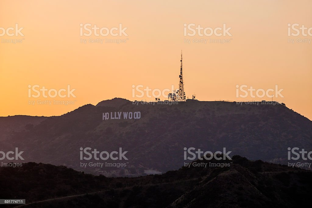sunset in hollywood mountains stock photo