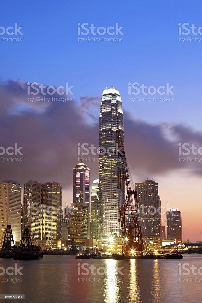 Sunset in Hong Kong stock photo