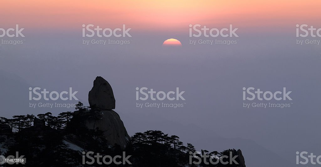 Sunset in Huangshan China national park royalty-free stock photo