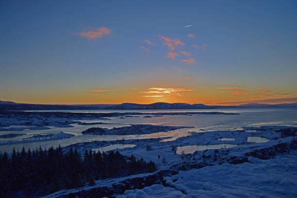 Sunset in Iceland stock photo