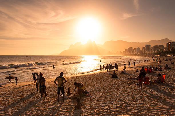 Sunset in Ipanema Beach stock photo