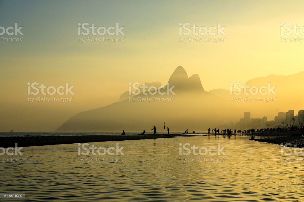 Sunset in Ipanema Beach - with a fog stock photo