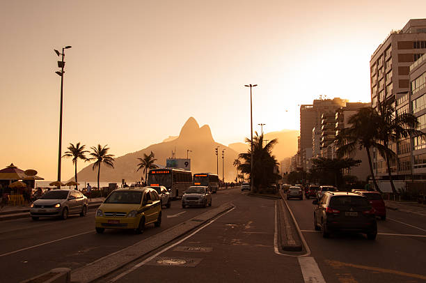 Sunset in Ipanema stock photo