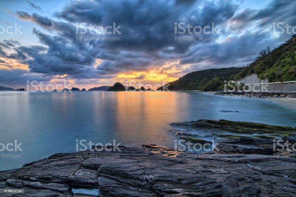 Sunset In Island Near Okinawa Japan Ryukyu Islands Stock