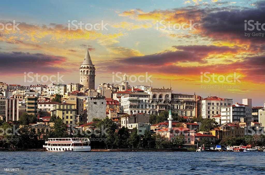 A sunset in Istanbul at Galata district, Turkey stock photo