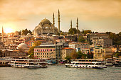 Panorama view of Istanbul at sunset.