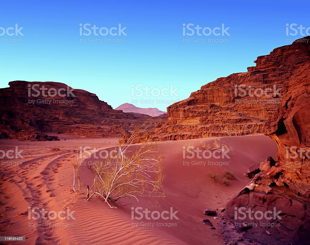 Sunset in jordan desert wadi rum. royalty-free stock photo