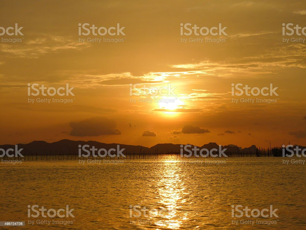 Sunset in Krabi stock photo