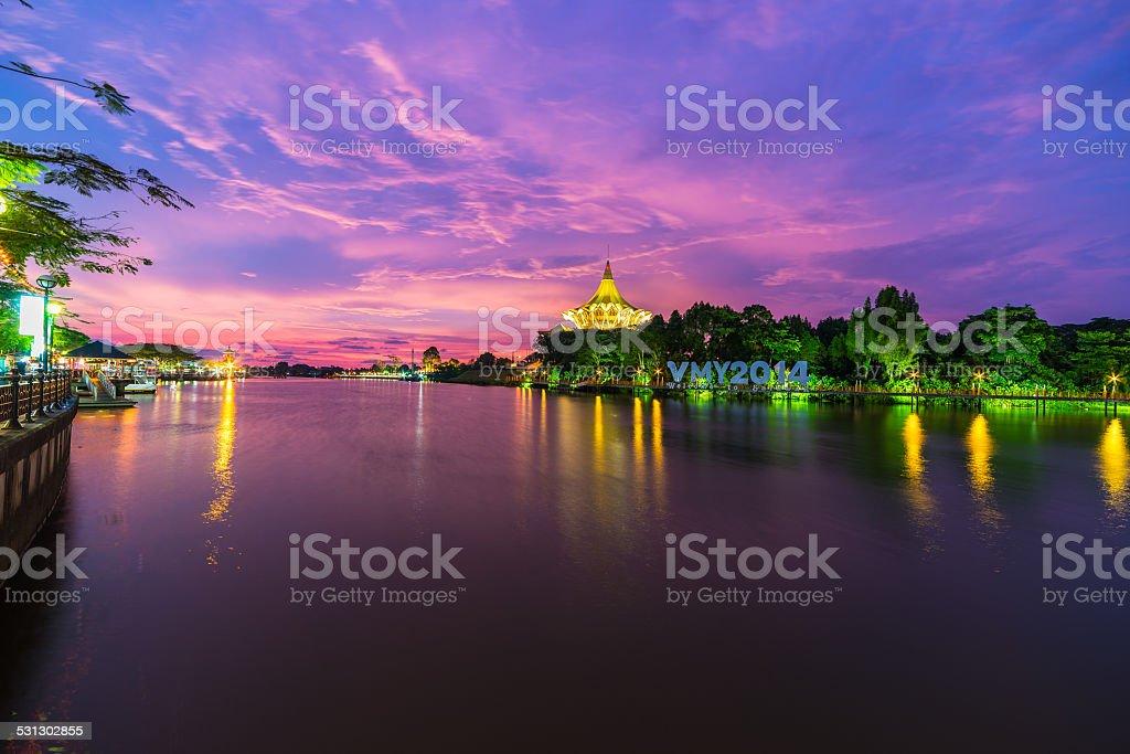 Sunset in Kuching, Borneo stock photo