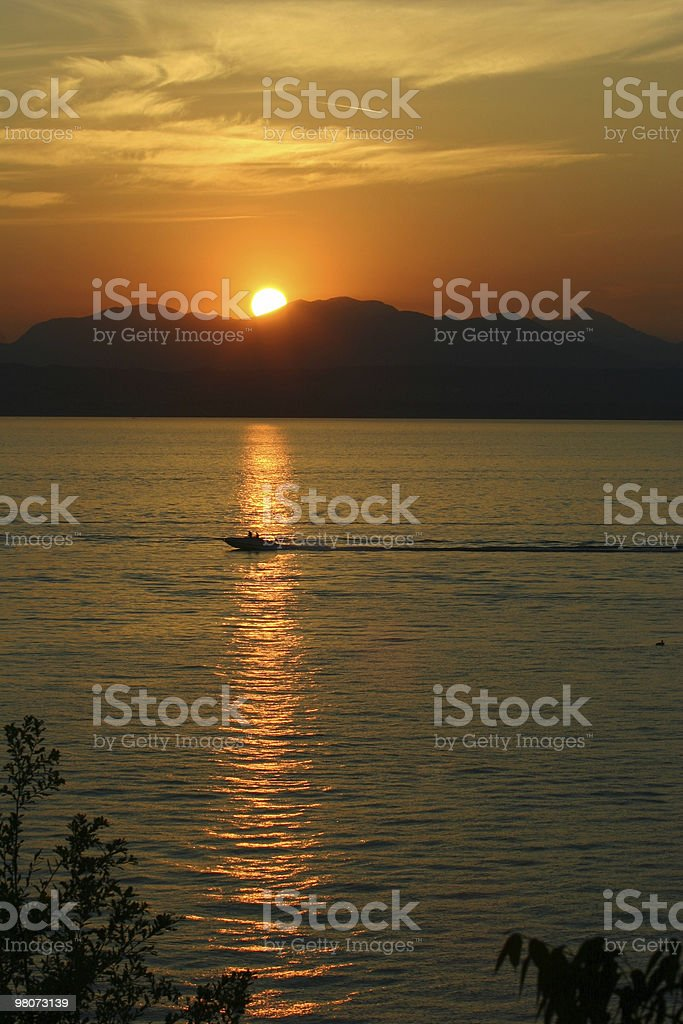 Sunset in Lake Garda royalty-free stock photo