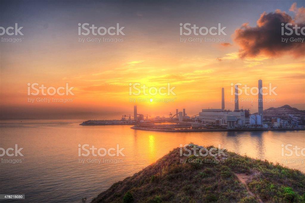 Sunset in Lamma Island stock photo