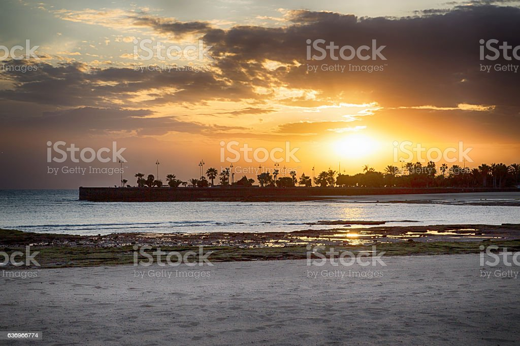 Sunset in Lanzarote stock photo