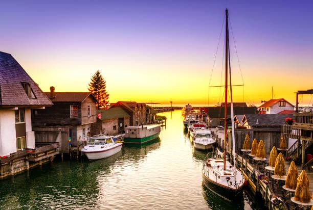 Sunset in Leland, Michigan stock photo