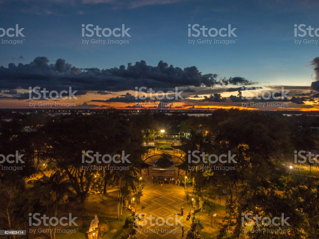 Sunset in Leticia stock photo