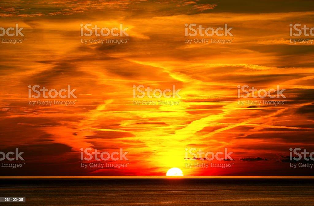 Sunset in Liguria Italy stock photo