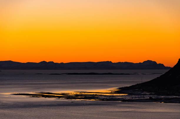Sunset in Lofoten stock photo