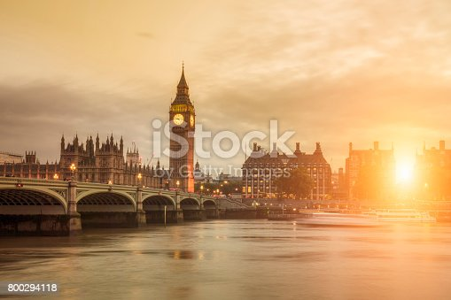 Big Ben and Westminster Bridge at sunset.
