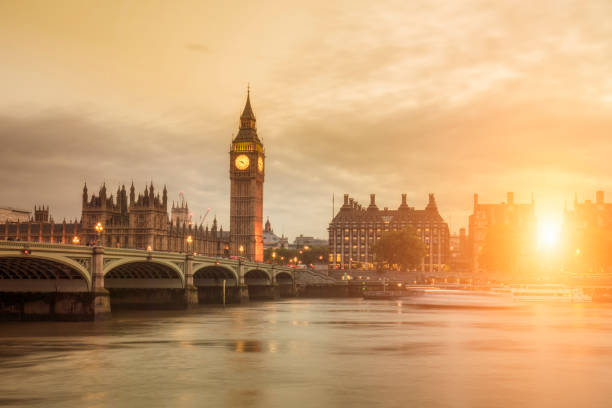 sunset in london - big ben stock photos and pictures