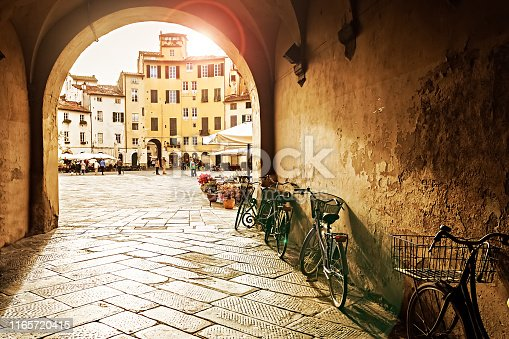 The Square of the Amphitheatre in Lucca, Itlay at Sunset