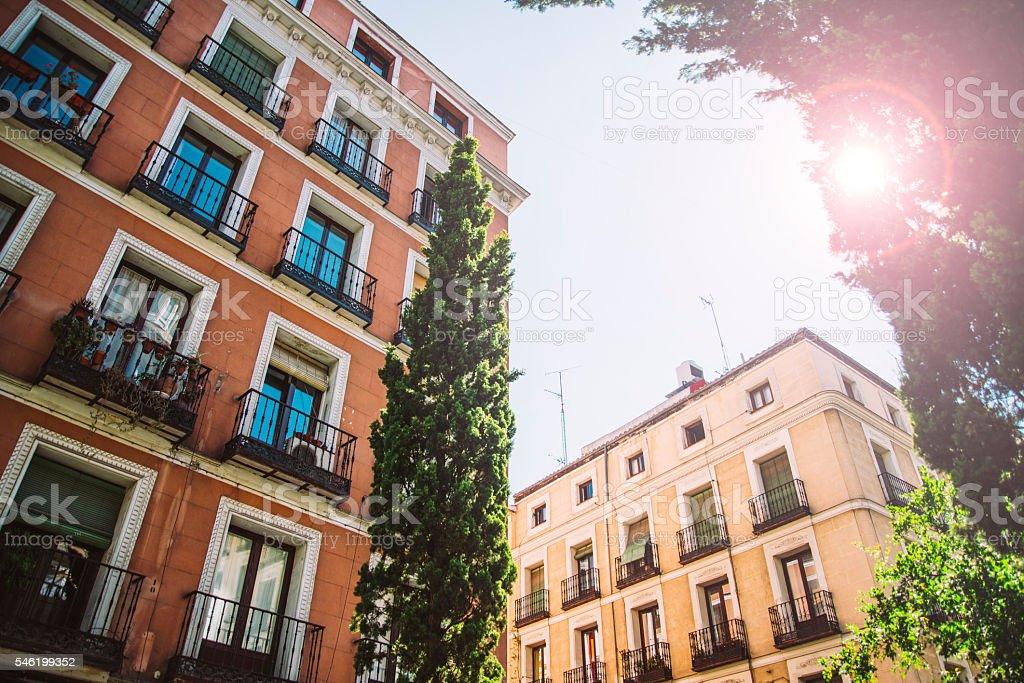 Sunset in Madrid stock photo