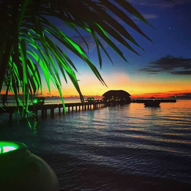 Sunset in Maldive stock photo
