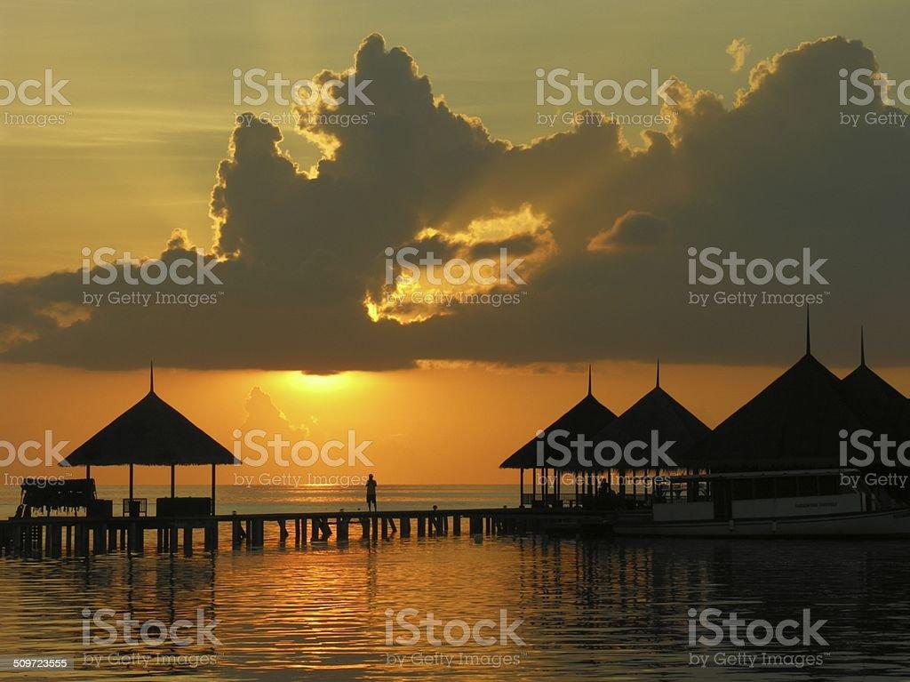 Sunset in Maldives stock photo
