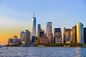 Beautiful view of lower Manhattan from Hudson river at sunset