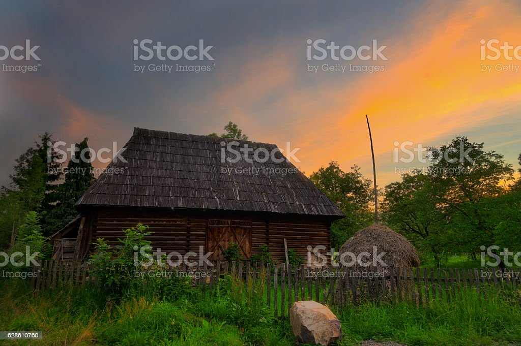 Sunset in Maramures stock photo