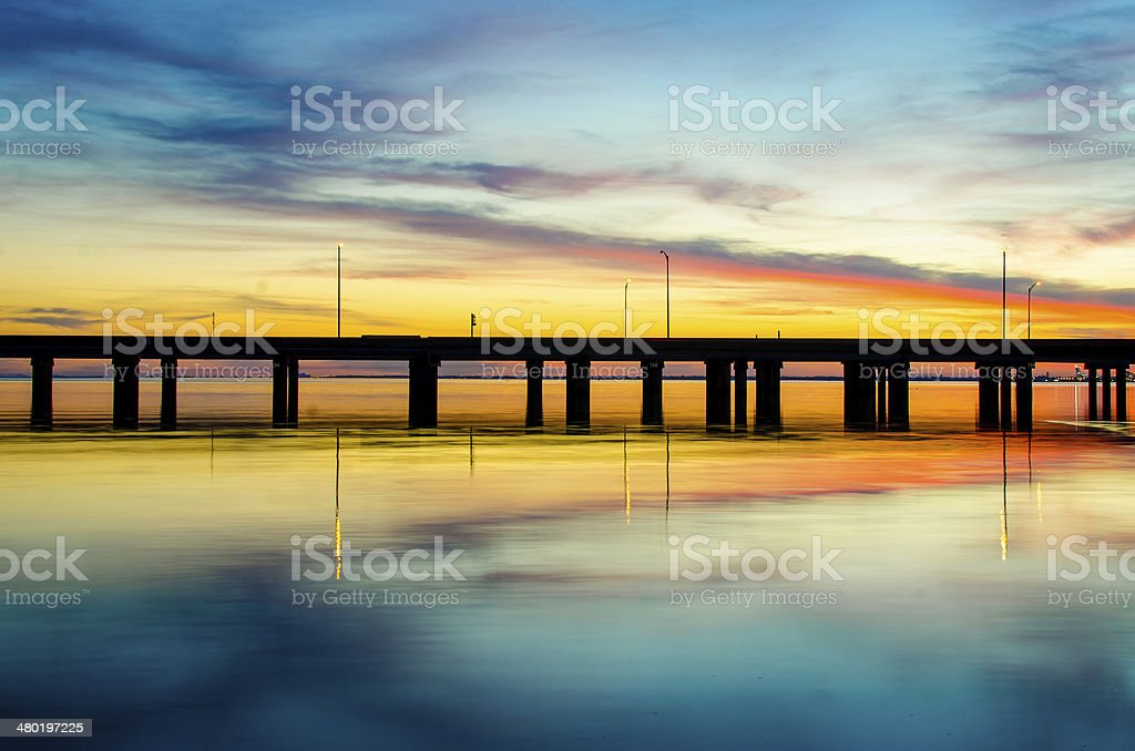 Sunset in Mobile Alabama stock photo