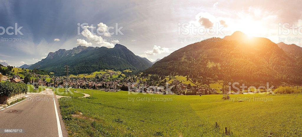 Sunset in Moena - Trentino Alto Adige - Italy stock photo
