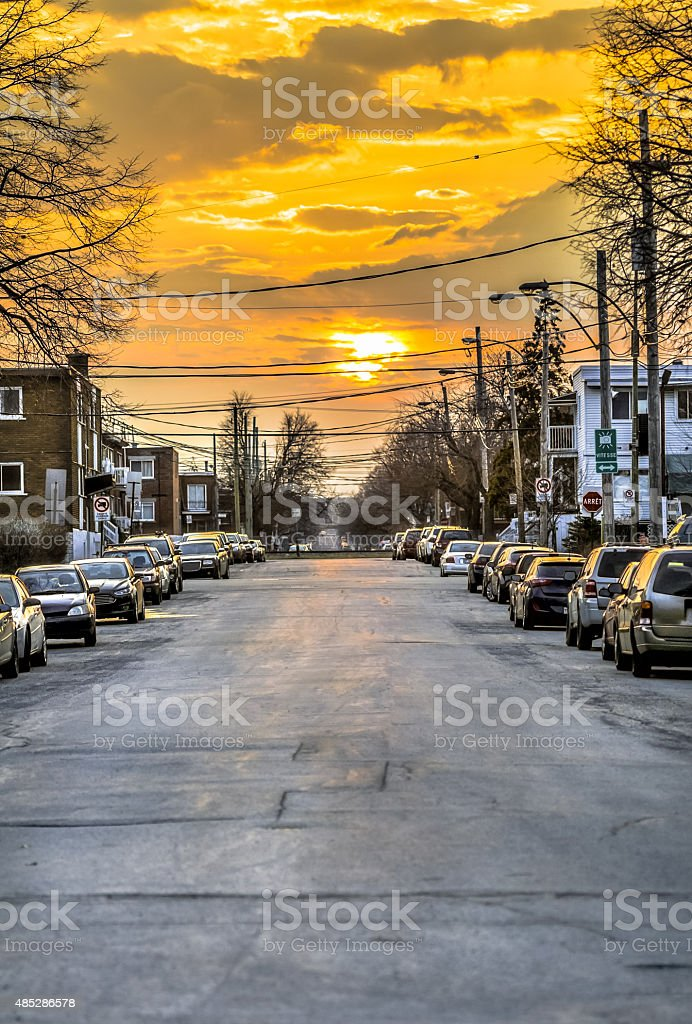 Sunset in Montreal stock photo