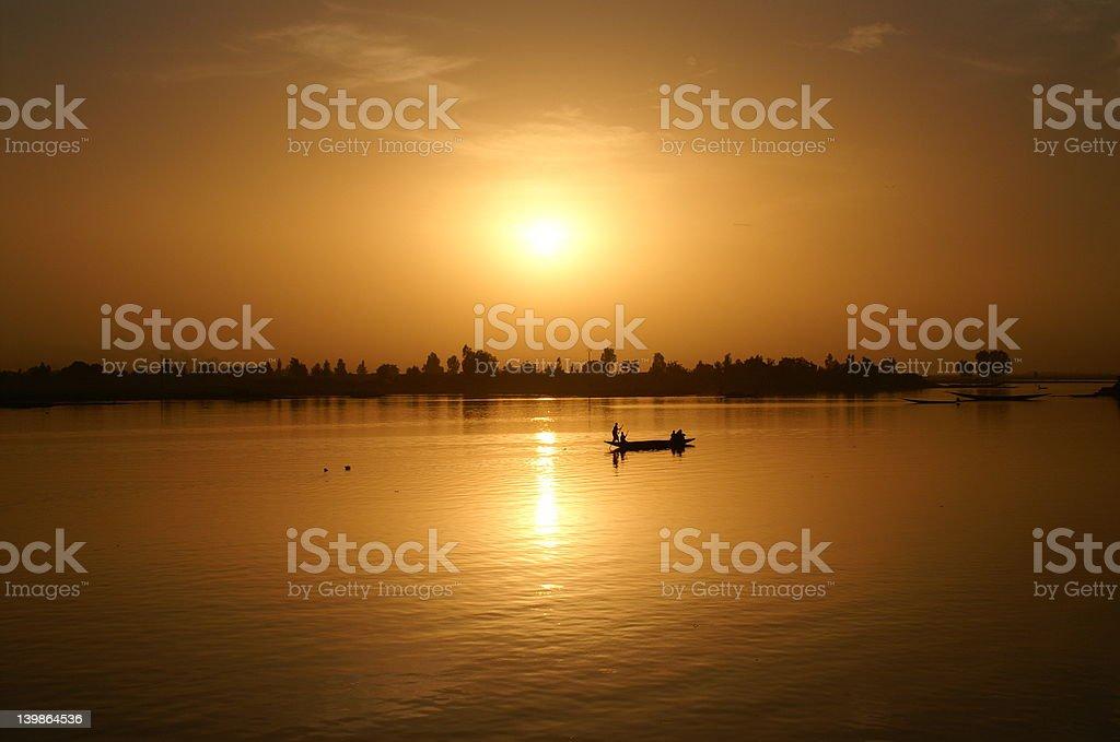 Sunset in Mopti royalty-free stock photo