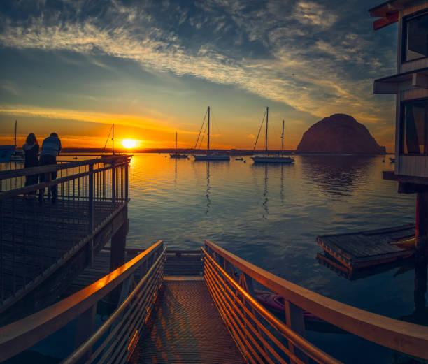 Sunset in Morro Bay state park, California stock photo
