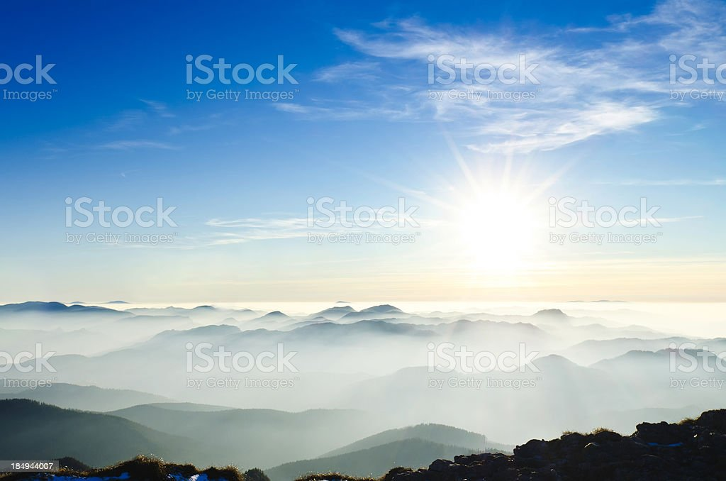 sunset in mountains royalty-free stock photo
