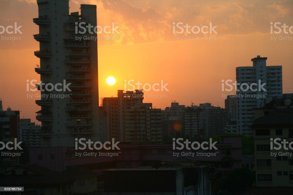 Sunset in Mumbai stock photo