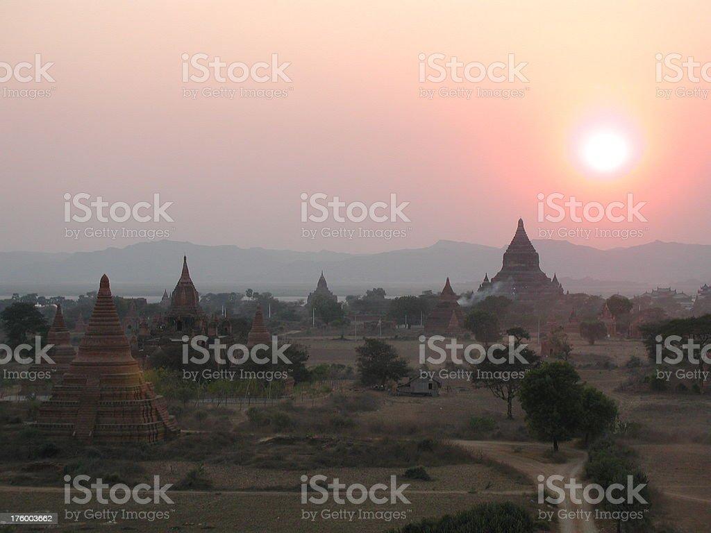 Sunset in Myanmar royalty-free stock photo