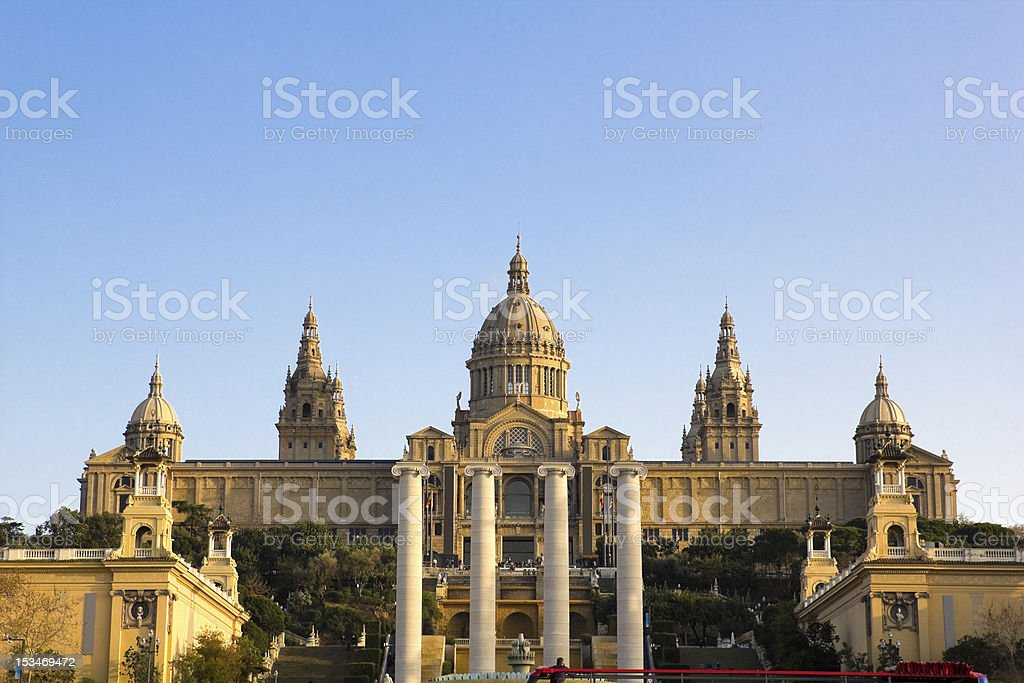 Sunset in National Palace of Barcelona stock photo
