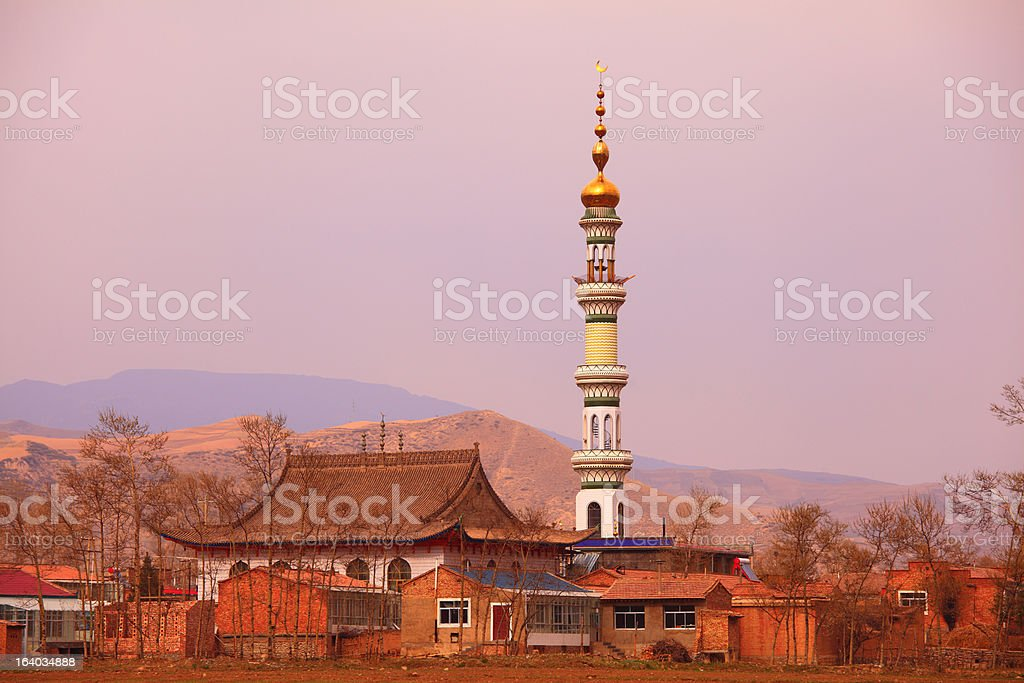 Sunset in Ningxia stock photo