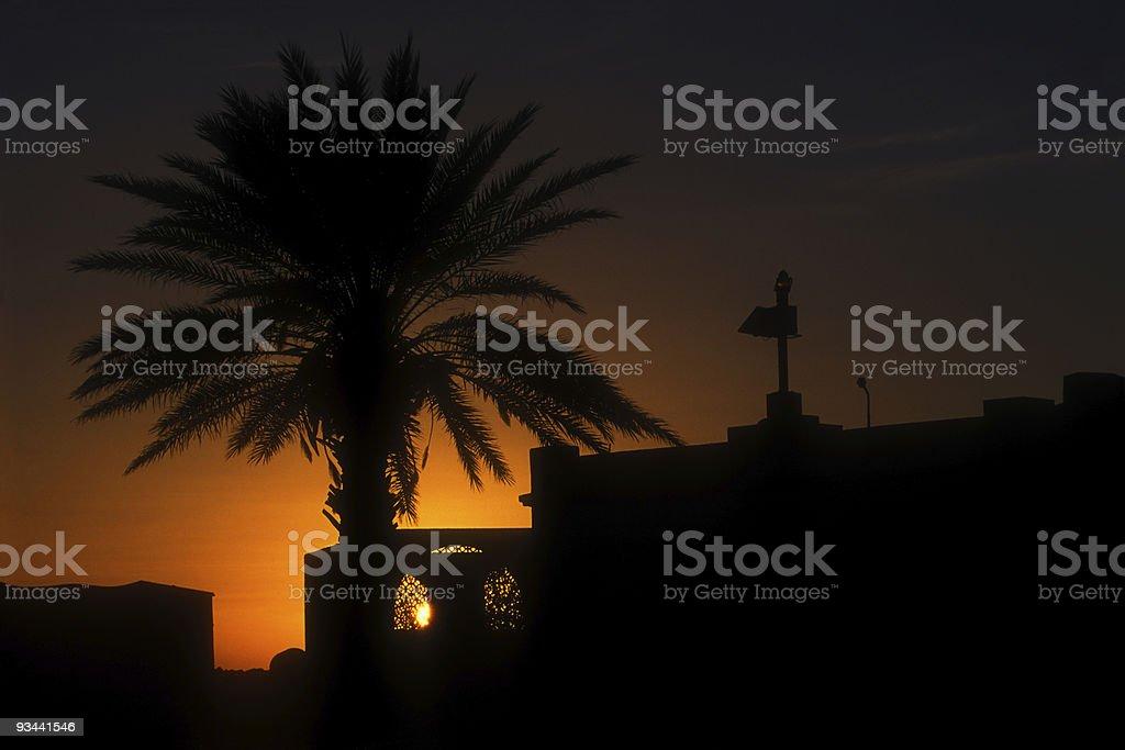 Sonnenuntergang im nördlichen Afrika Lizenzfreies stock-foto
