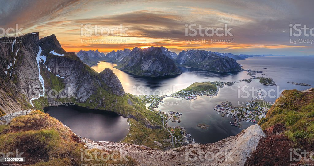 Sunset in Norway in Lofoten island:  Reinebringen - Reine town stock photo